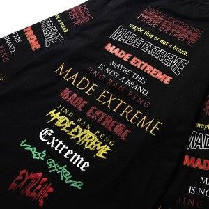 Image 5 - Hommes à manches longues T Shirt Harajuku Streetwear rétro coloré lettre impression T Shirt Hip Hop 2019 été hauts T Shirt noir coton