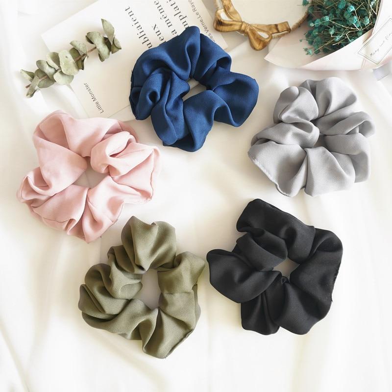 Trendy Lady Hair Scrunchie Ring Elastic Pure Color Bobble Sports Dance Scrunchie Women Girls Hair Accessories 2019 Hot Sale