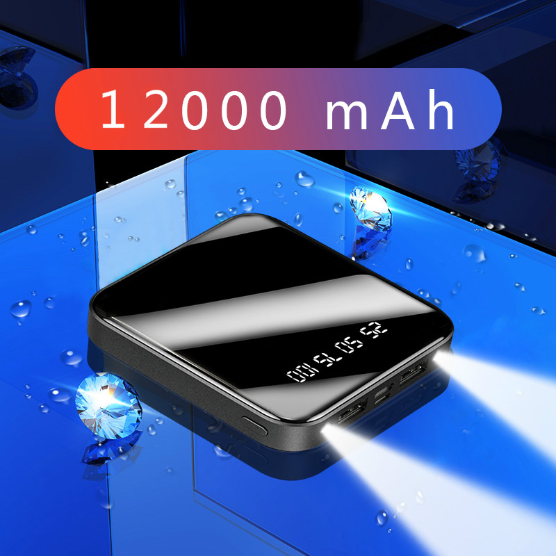 Mini <font><b>Power</b></font> <font><b>Bank</b></font> 12000mAh Portable Fast Charging PowerBank 12000 Dual USB PoverBank External Battery Charger For <font><b>Xiaomi</b></font> Mi iPhone image