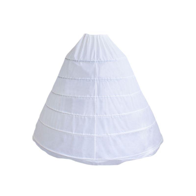 Bride Women Wedding Dress Skirt Support Costume Petticoat Slip 6-Hoops Yarnless Petticoats Elastic Waist Skirts