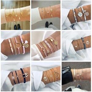 Tocona pulseira boêmia feminina, 30 estilos conjunto bracelete para mulheres com estampa de estrela mapa de abacaxi coração natural pedra miçangas pulseira jóias boho