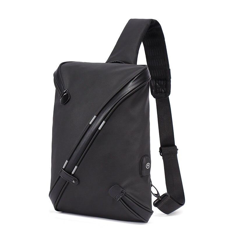 30PCS / LOT Men Chest Bag For Business Single Shoulder Bag USB Charging Portable Outdoor Riding Cross Body Pack Messenger Bags