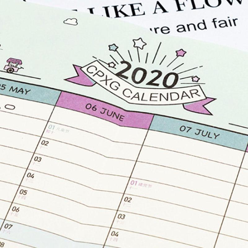 2020 Calendar Wall Paper Calendar 365 Days New Year Creative Schedule Plan Wall Supplies Decoration Kawaii Office Study N3H8