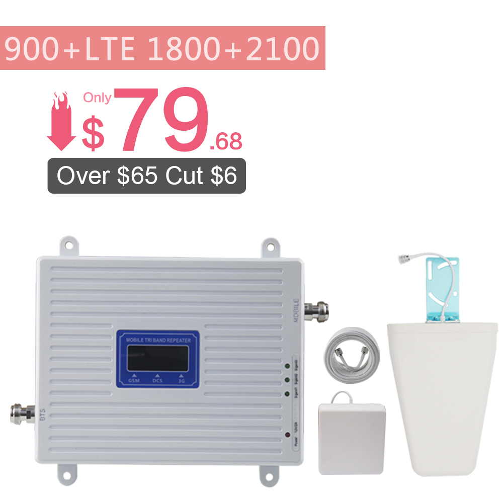 70dB 2G 3G 4G Tri Band Mobile Signal Repeater GSM 900 DCS 1800 WCDMA 2100 Cellphone
