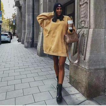 2019 jesień nowy Casual list bluza z kapturem kobiet druku wokół szyi bluzy kobiety Streetwear luźne Harajuku duży rozmiar kapturem tanie i dobre opinie HARDDWCH COTTON Swetry Stałe REGULAR Pełna Długi Na co dzień O-neck