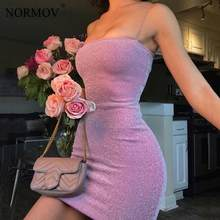 NORMOV Sexy Bright Silk Bodycon Dress Nightclub Thin Strap Party Dresses Summer Slim Women Mini Tight Dress Women's Short Dress(China)