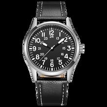 Men Pilot Watch Easy Reading Classic Japan Quartz Movement PU Leather Strap Simple 24H Display