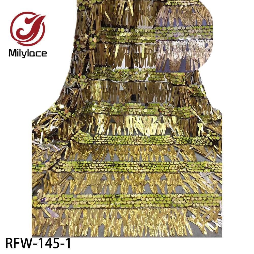 Африканская 3D кружевная ткань 2020 Высокое качество Тюль кружевная ткань с блестками французское Сетчатое кружево для женщин платье RFW-145