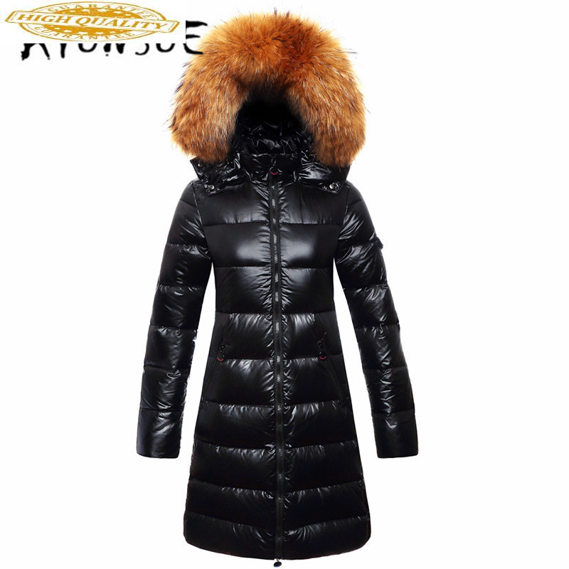 Winter Coat Women White Duck Down Jacket Women Big Fur Collar Down Coat Puffer Jacket Warm Parka Casaco A01042 YY1437