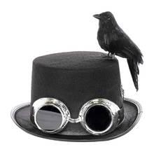 Карнавальная ретро шляпа в стиле стимпанк черная джазовая Кепка