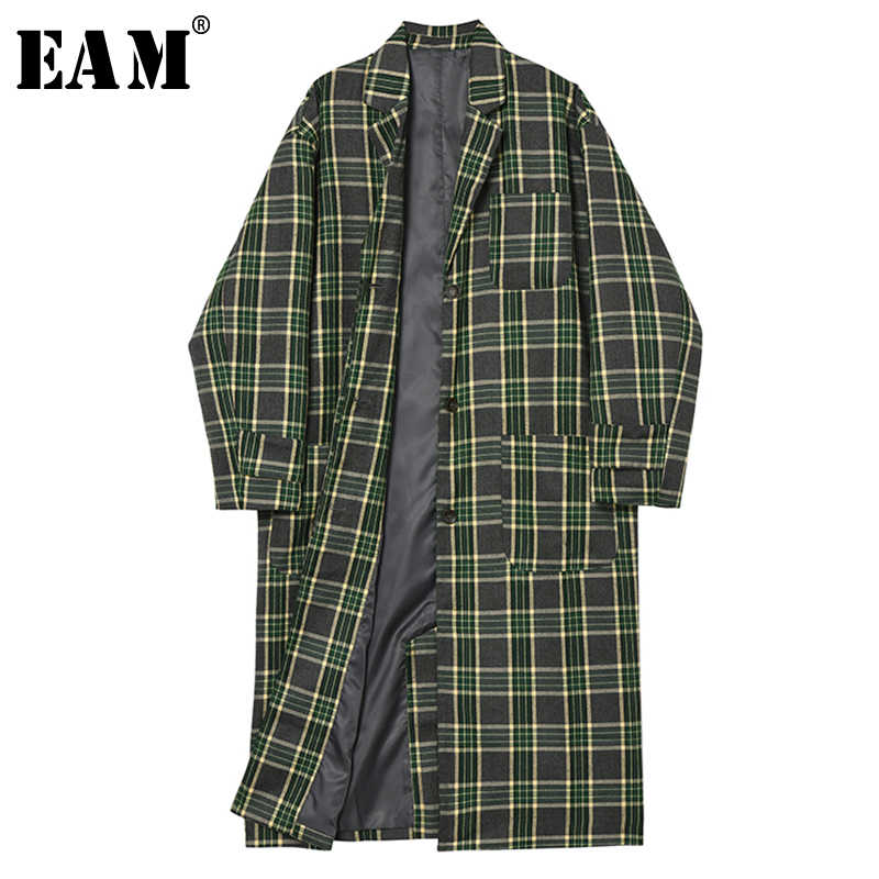 [EAM] Women Green Plaid Loose Big Size Long Trench New Lapel Long Sleeve Loose Fit Windbreaker Fashion Autumn Winter 2019 1B526