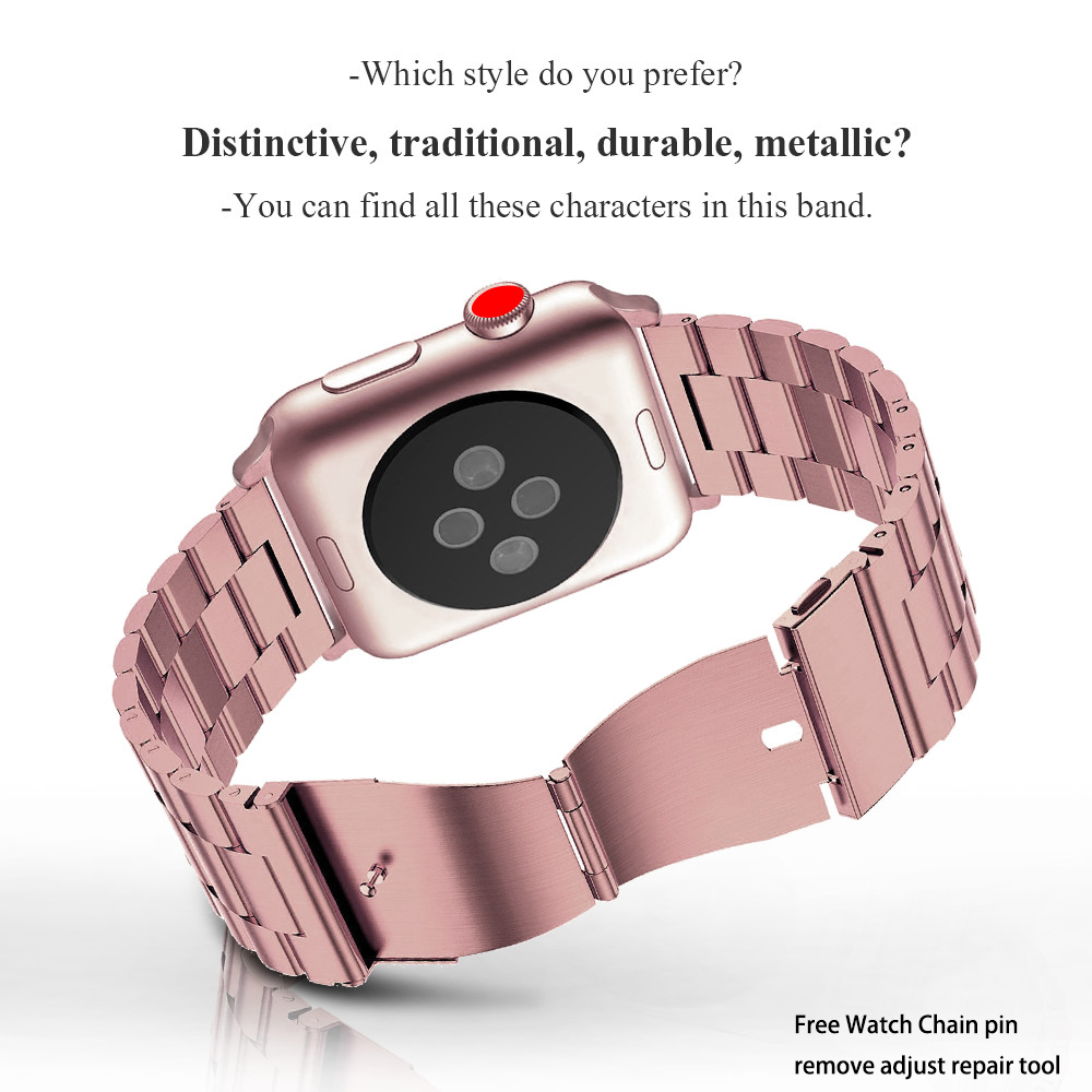 Watches ... Watch Accessories ... 32666477781 ... 3 ... Stainless Steel Strap For Apple Watch Band 38mm 42mm 3 2 1 Metal Smart Watchband Bracelet Strap for iWatch Series 4 5 40mm 44mm ...