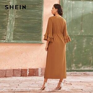 Image 2 - SHEIN Camel couche à plusieurs niveaux cloche manches à volants garniture élégante robe plissée femmes 2019 automne taille haute cordon Maxi robes