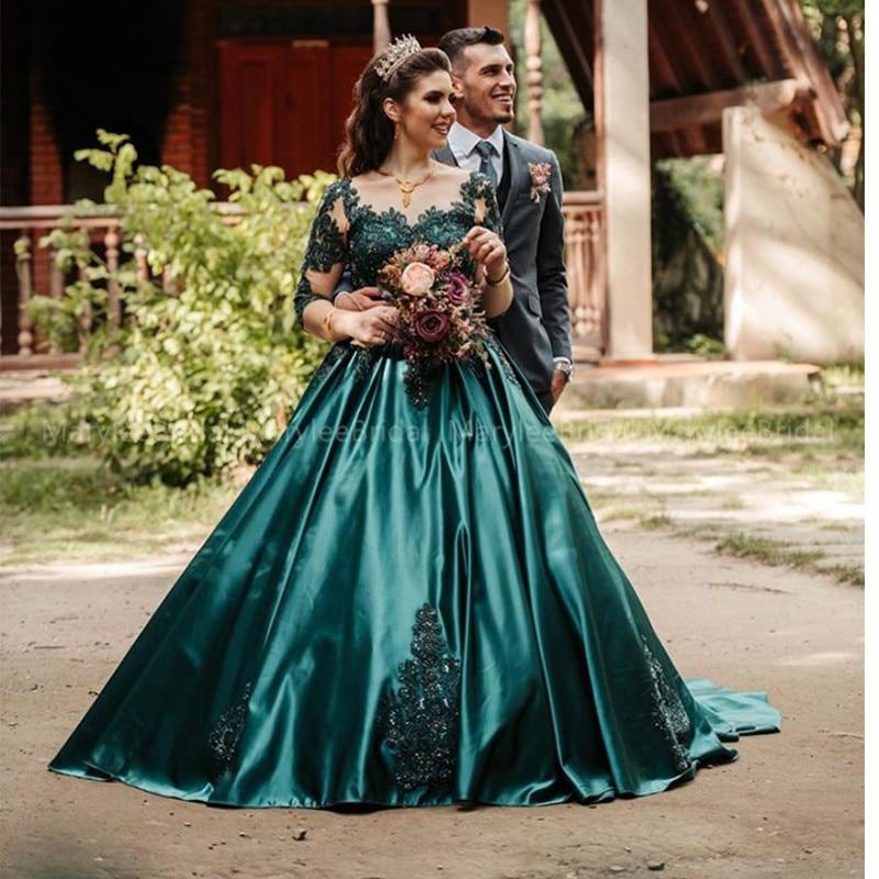 Dark Green Prom Dresses Half Sleeves 2020 Puffy Ball Gown Arabic Dubai Women Long Formal Dress Evening Gowns Vestidos De Gala