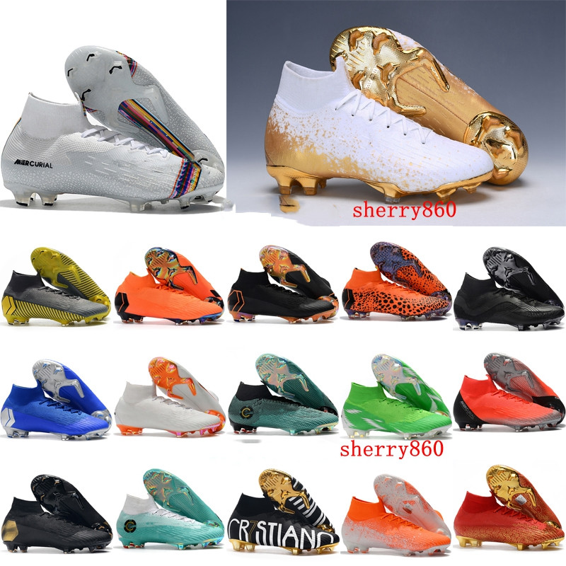 Soccer Cleats Football-Boots CR7 Ronaldo Neymar Mercurial Superfly Boys FG Elite VI 360