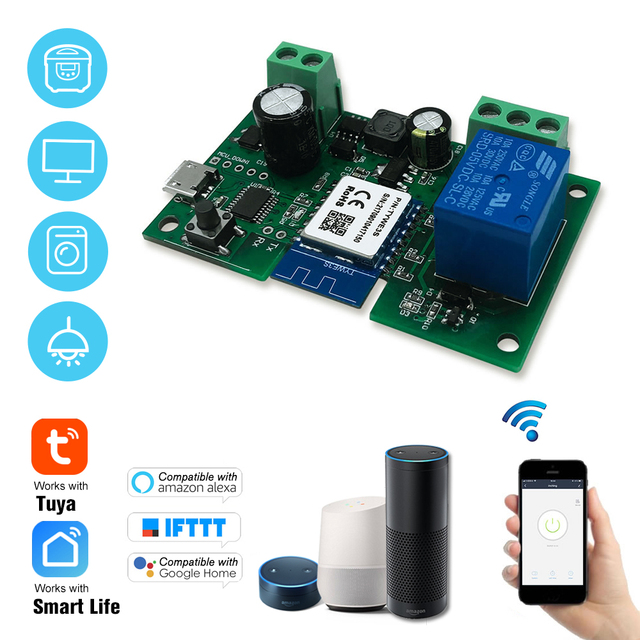 Tuya DC5V 12V 24V 32V WiFiไร้สายโมดูลรีเลย์เดี่ยว Way Inching/Self ล็อคTimingรีโมทคอนโทรลสำหรับGoogle Home