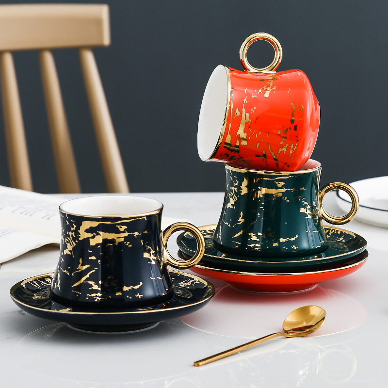 3pcs Minimalist Life <font><b>Coffee</b></font> <font><b>Cup</b></font> <font><b>Porcelain</b></font> <font><b>Cup</b></font> & Saucers Clourful Afternoon Ceramic Tea <font><b>Cups</b></font> With Trays Drinkware Kit image