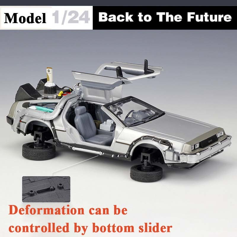 WELLY 1:24 Part 2 Time Machine BACK TO THE FUTURE Car Model Toy Flight Version DeLorean DMC-12 Diecast Alloy Car Kids Toys Gift