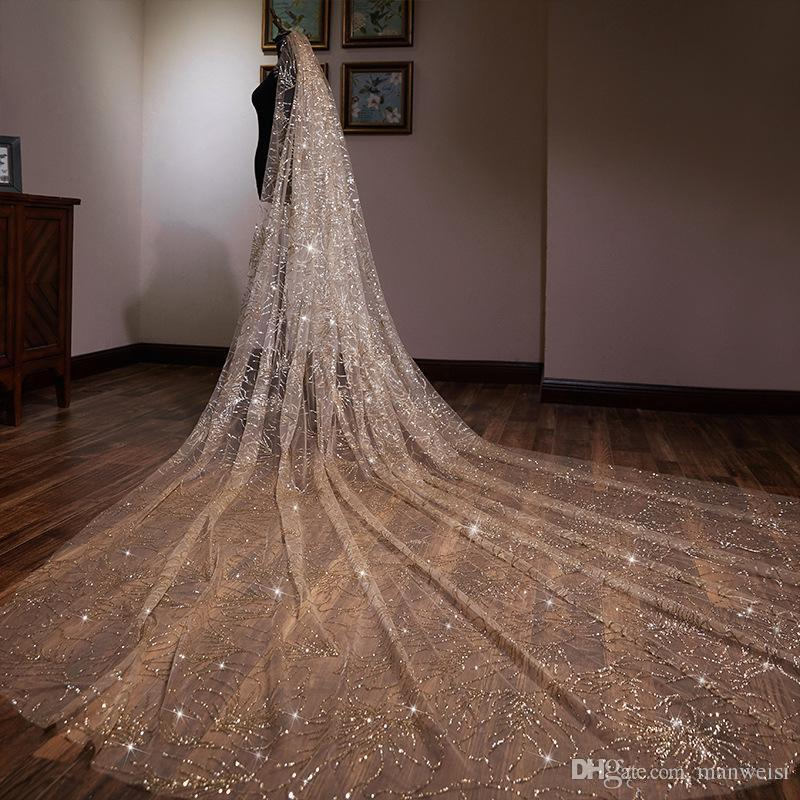Luxury 2020 Champagne Gold 3 Meters Long Wedding Veil Sequin Bridal Veils One Layer Cut Edge Sparkling Veil With Comb
