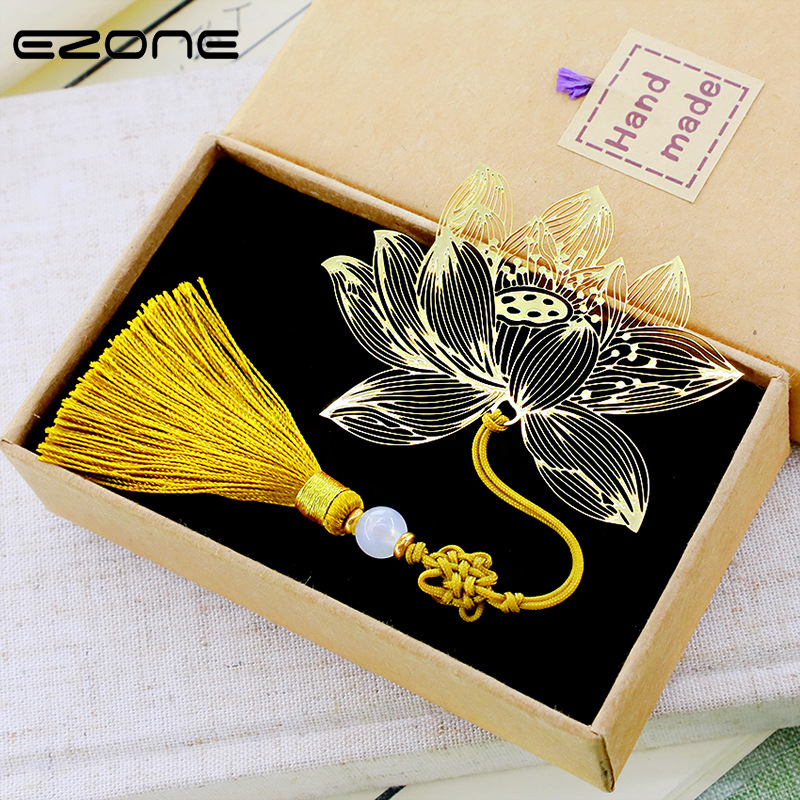 EZONE Metal Vintage Style Bookmarks With Colorful Tassel Antique Metal Chinese Knot Tassel Bookmark Gift Box Packing Stationery
