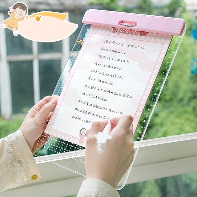 30*21cm Cartoons Series Writing Board Clip Stationery A4 Paper Acrylic Pad Splint Transparent daisy Clipboard School Supplies