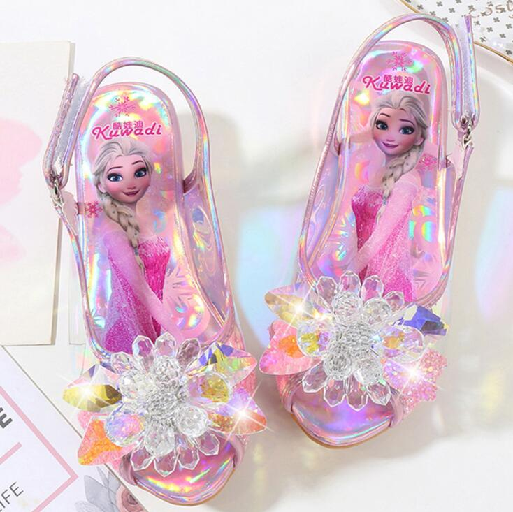 Girls Party Shoes Princess Sandals Leather Glitter Crystals Rhinestones Knot Kids Shoes Elsa Sandals Children Christmas Gift