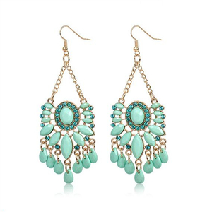 mint green oval water drop acrylic crystal beads gold alloy charm retro chandelier pendant charms drop dangle earring for women(China)