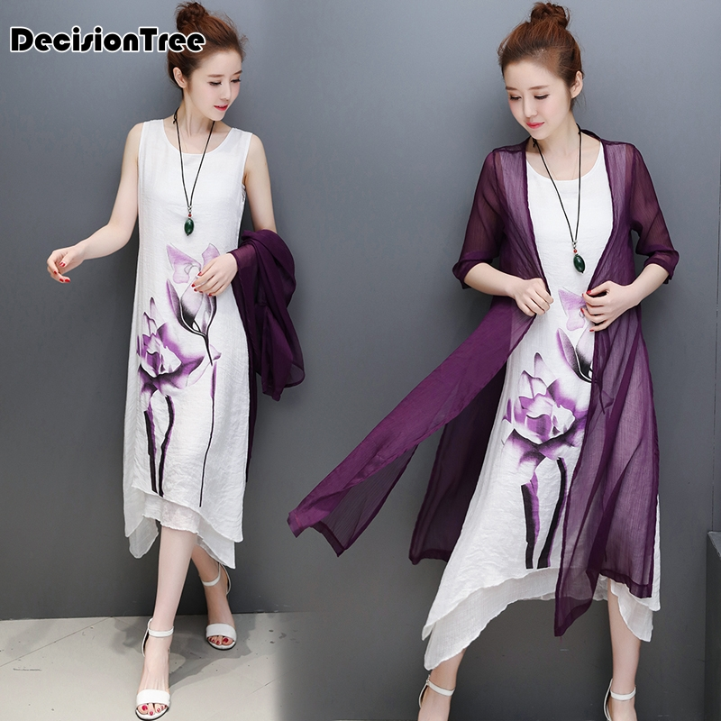 2020 Chinese Dress Qipao Suits Women Sleeveless Qipao Dress+ Casual Cardigan Chinese Style Wash Painting Lace Qipao Knee Length