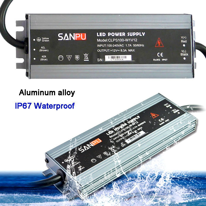 LED Ultra-thin Waterproof Strip Power Supply IP67 45W/60W/100W/120W/150W/200W/250W/300W Transformer 175V~240V To DC12V 24V