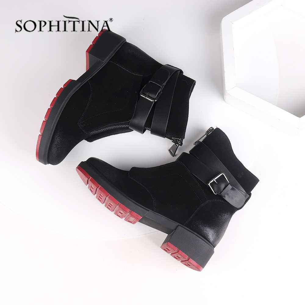 SOPHITINA yeni 2019 koyun derisi yarım çizmeler rahat kalın yuvarlak ayak kare topuk kadın ayakkabı ile Retro toka sıcak kışlık botlar M46