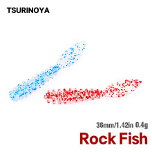 Tsurinoya ajing rocha peixe macio isca de pesca promenade 36mm 0.4g uv conjunto de iscas macias 50 pçs rockfishing worm swimbaits jig isca