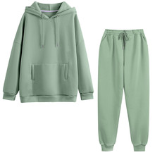 Outfits Sweatshirt-Set Tracksuit Tops Hoodie Long-Pants Oversized Fleece 2pieces-Set