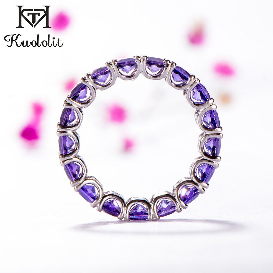 Kuololit Amethyst Cubic Zircon Gemstone Rings For Women 925 Sterling Silver Stone Band Ring For Men Wedding Fine Fasion Jewelry