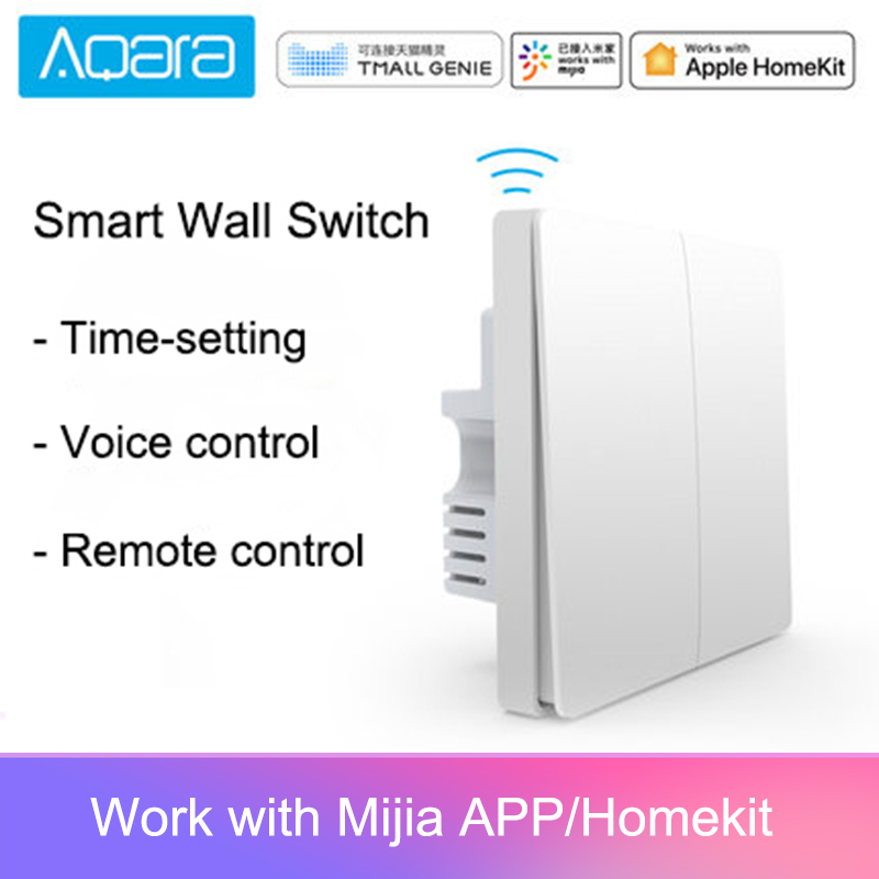 Original aqara mijia casa inteligente controle de luz único fio fogo zigbee interruptor de parede chave sem fio via smartphone app