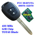 Запасной пульт дистанционного управления автомобильный ключ брелок 433 МГц G чип или H чип B71TA подходит для Toyota Yaris 2012-2014 RAV4 2014-2015