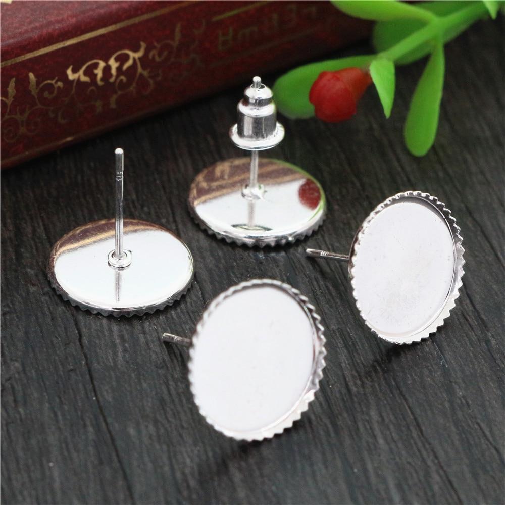 12mm 20pcs Silver Plated Earring Studs,Earrings Blank/Base,Fit 12mm Glass Cabochons,Buttons;Earring Bezels  (L4-21)
