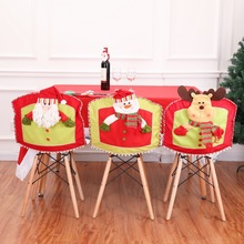 Christmas decorations fine cartoon flannelette Santa Claus snowman decoration chair cover 47x42CMchristmas for home