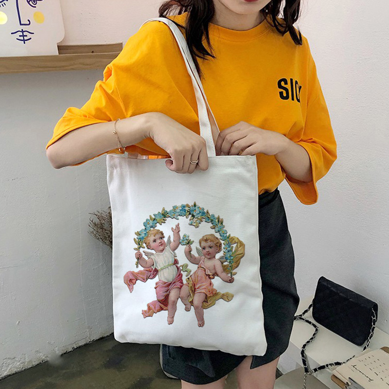 2019 New Angel Baby Cartoon Fun Fashion Durable Female Student Shoulder Canvas Bag Large Capacity Shopping Bag Handbags