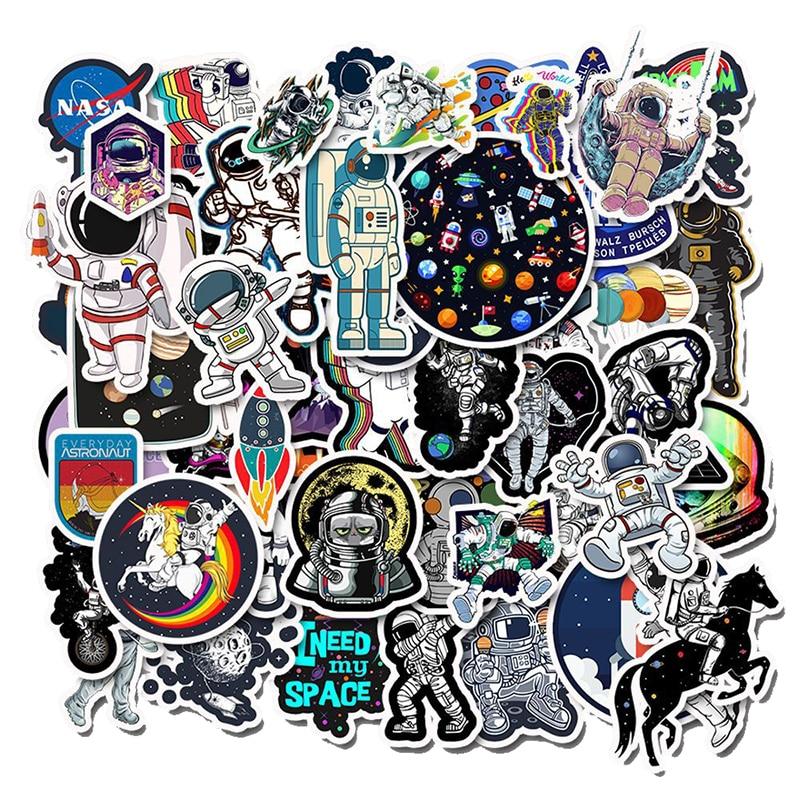 50 PCS Outer Space Sticker UFO Alien Computer Stickers Astronaut Rocket Cartoon DIY For Laptop Refrigerator For MacBook Sticker