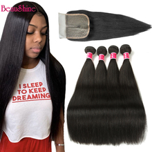 Hair-Bundles Closure Human-Hair Straight with Malaysian for Black Women Lace T-Part