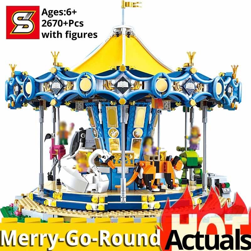 SY 1219 modèle de bloc de construction Compatible LegoINGlys créateurs 10257 15036 noël carrousel brique bricolage jouets pour les filles meilleur cadeau-in Blocs from Jeux et loisirs    1