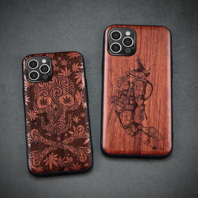 Carveit עבור iPhone 12 מיני פרו מקס אמיתי עץ מקרה רטרו מגולף אביזרי כיסוי מקורי עץ מעטפת דק רך egde טלפון גוף