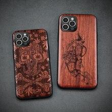 Carveit para iphone 12 mini pro max caso de madeira real retro esculpida acessórios capa original casca de madeira fina macio telefone egde casco
