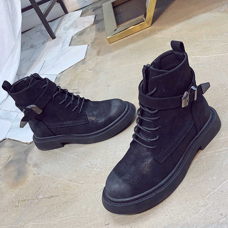 2019 yeni Platform kış çizmeler kadın ayakkabıları kauçuk siyah çizmeler deri Lace Up savaş bileğe kadar bot bayanlar toka Botas Mujer