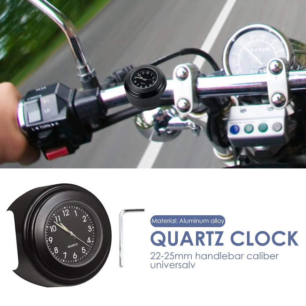 22-25mm Multi-functional Dia Motorcycle Handlebar Mount Clock Durable Practical Classic Waterproof Luminous Quartz Watch
