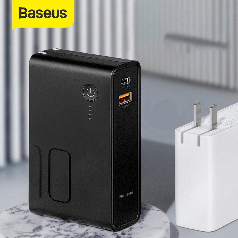 Baseus 10000 mah Banco De Potência Com Usb Plug Tipo-C E Saída Usb Powerbank PD3.0 3A + QC3.0 Rápido carregador Para iPhone Samsung Huawei