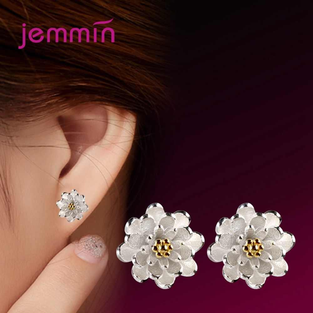 الفاخرة ماركة مجوهرات النساء لوتس زهرة الأذن مربط ثقب الكورية 925 فضة الذهب اللون Brincos أقراط التصميم