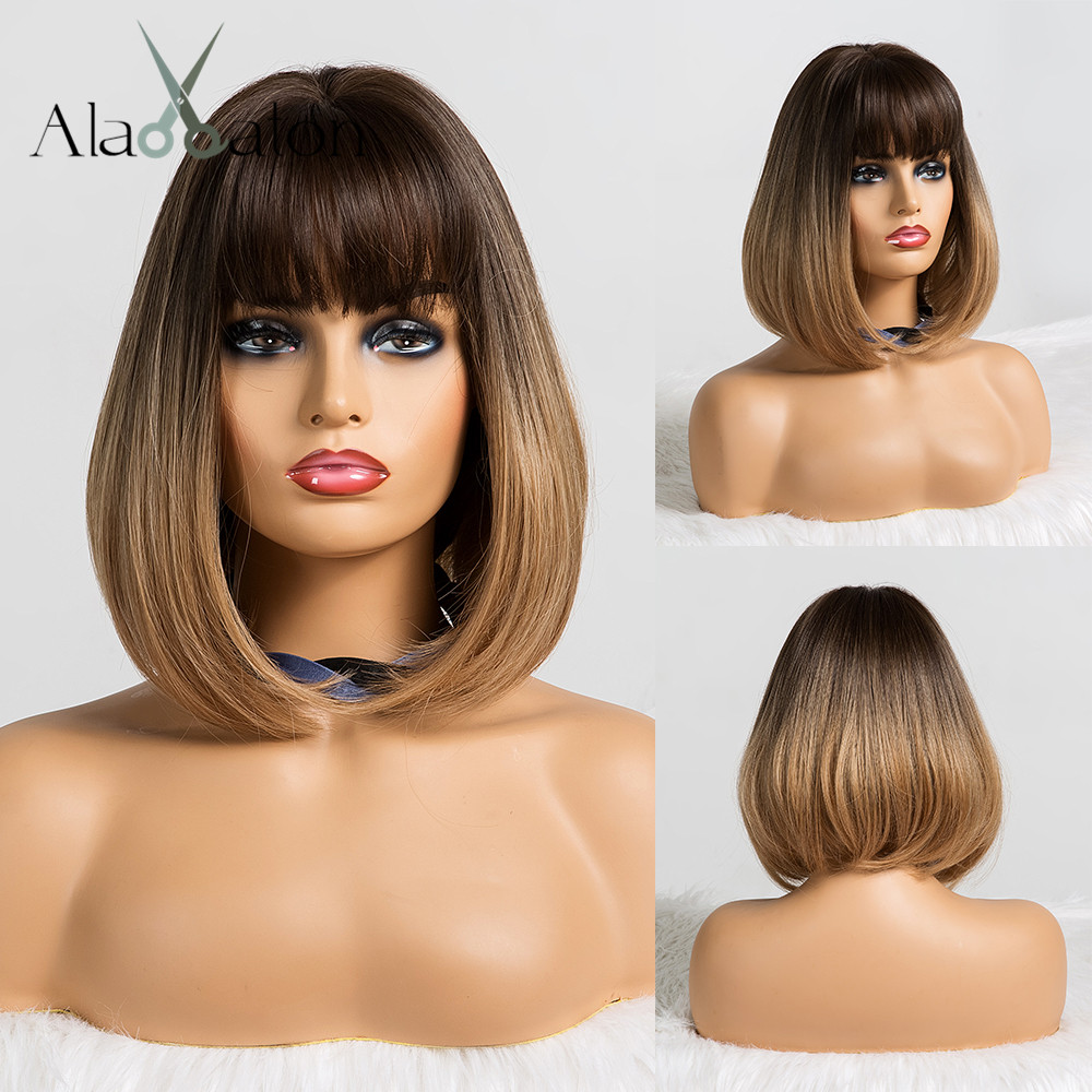 ALAN EATON Short Straight Ombre Black Brown Synthetic Wigs With Bangs For Women Bob Wig Heat Resistant Lolita Cosplay Wig 12inc