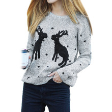 2019 Winter Deer Christmas Sweater Women Funny Knitted Ladies Jumpers Merry Sweaters For Clothes Autumn