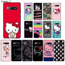 FHNBLJ Hot Fashionable Hello Kitty Cover Black Soft Shell Phone Case for Samsung S10 5G S7 EDGE S8 S9 S10 S20 PLUS S10Lite(China)
